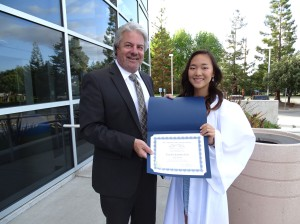 SILVAR Past President David Tonna presented the scholarship award to Yun Seo (Jennifer) Kim, graduating senior from Saratoga High School.